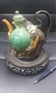 中古70年代酒壺擺設連木座