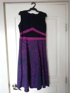 Meg Sleeveless Midi Dress Blue with Purple Accents