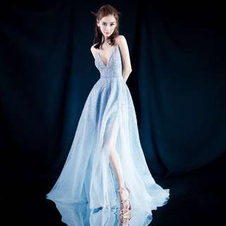 Sky Blue Glitter Evening Gown/ Dinner Dress/ Maxi Dress/ Long Gown/ Bridal Bridesmaids Dress/Prom Dress  (Rent) #70Fashion