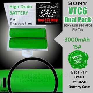 SONY VTC6 Dual Pack, US18650 3000mAh, 15A Flat Top High Drain 18650 Battery (GSS 2018)