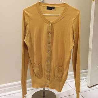Mustard knit button up