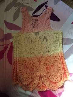 Sheer lace crochet summer top