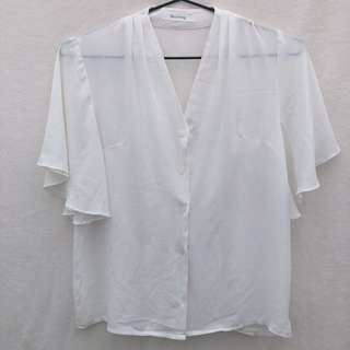 White Butterfly Sleeves Blouse