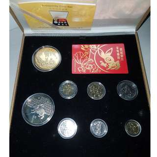 2011 rabbit uncirculated coin set with 24k gold plated medallion