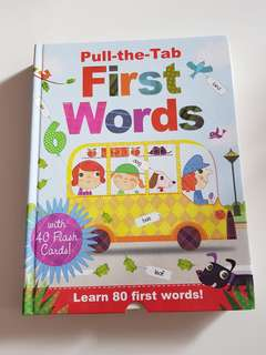First words- Pull the tab with 40 flash cards (double sided)