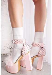 Sugarbaby Dolls Kill Spike Lolita Punk Platform Heels Pink Fur sugar thrillz