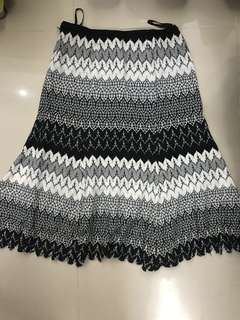 Mission style skirt -black white with gold