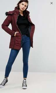 Brave soul tall zip fitted coat
