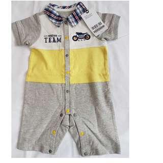 全新Chickeeduck嬰兒夏天黃色短袖開胸連腳  ( size: 73 ) up to 6個月