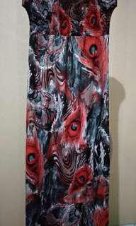 Dress kemben motif merah
