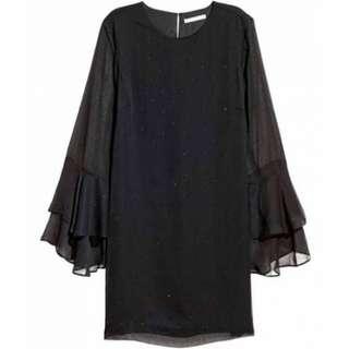 H&M FLOUNCE SLEEVE DRESS - BLACK STUNED