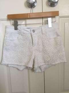 JayJays white lace denim shorts