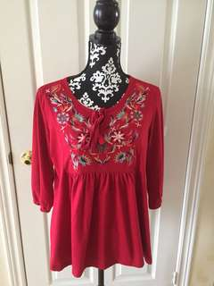Rebecca Malone Top Blouse Color Red with Embroidery Size L, EUC