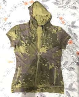 DKNY Short Sleeves Distressed Hoodie