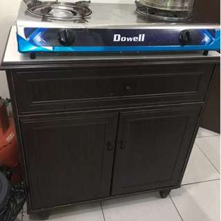 Stove Cabinet with 2 burner gas stove