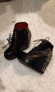 Studded Platform Punk Wedge Lace Up Boots