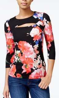 Guess floral cut out top
