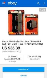 Front and rear brake pad for Honda Cbr600 rr(2007-2016) Cbr1000 rr (2006-2016)