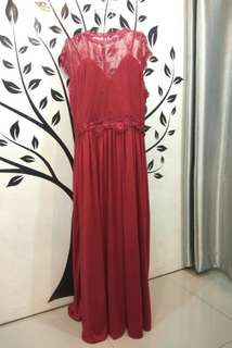 Plus Size Red Lace Long Dress