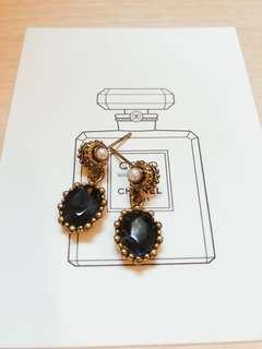 🚚 正韓耳吊珍珠藍寶石古銅金耳針耳環