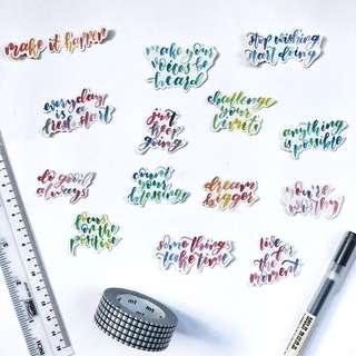 🚚 Watercolour Quotes Stickers - Stickyrella #Caroupay