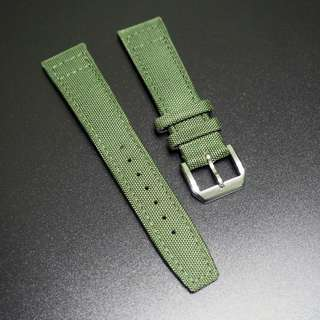 (2121) 全新21mm IWC款軍綠色尼龍錶帶配針扣