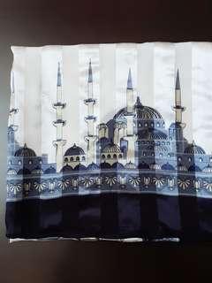 Jilbab hijab motif masjid warna biru putih