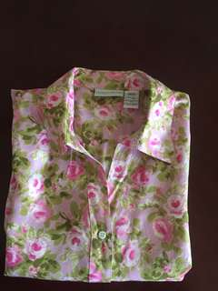 Jaclyn Smith Classic Button Down 100% Silk Floral Blouse Size Large