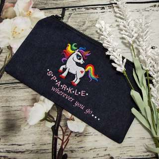 Unicorn Embroidery Pencil Pouch