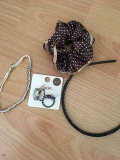 Silver stretchy bracelet, black headband, scrunchy headband, louvisa rings