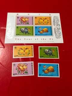 香港郵票+小全張(牛年)