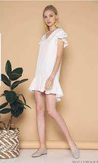 Hollyhoque EDAN RUFFLES DRESS WHITE