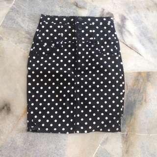 Polka dot denim skirt #70Fashion
