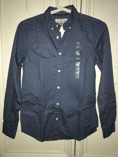 H&M blue mini polka dot long sleeves