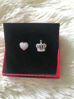 BN Hypoallergenic Crown & Heart Bling Bling Earrings