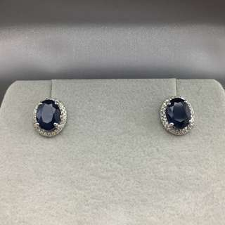18K白金耳環 3卡9份藍寶石 80份鑽石  18K Withe gold Earrings 3.09ct Sapphire  0.80t Diamond 可議價