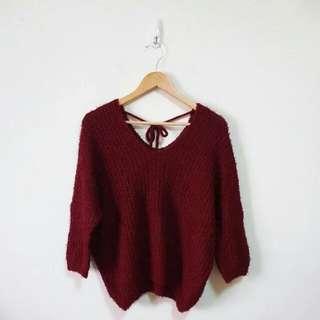 🚚 純色後綁結針織毛衣