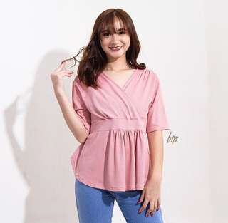 Pink Overlap Shirred Top