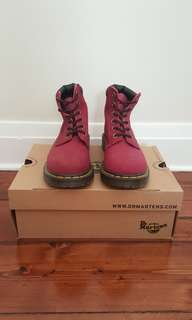 Dr. Martens Deep Red Greasy Suede
