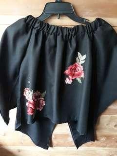 black floral off shoulder