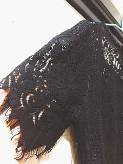 🚚 黑色鏤空蕾絲洋裝