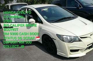 HONDA CIVIC FD 2.0 MANUAL 2008 BIG CALIPER BRAKE BODYKIT RM 9300 CASH BODY STATUS SG SCRAP 🇸🇬 DEPOSIT RM 500 COLLECT JB