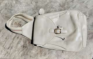 Cream genuine leather belt bag/backpack (convertible)