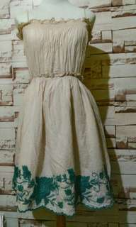 Nude Beige Green Laced Dress