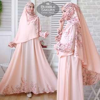 Pre order Bubble Sakura ( dress+ tudung) long sleeve Muslimah dress pink white nude black