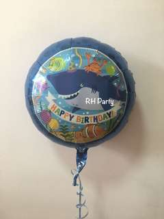 (18/6) Include Helium Happy Birthday Under the sea animals baby shark foil balloon