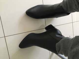 leather heels boot black size 41