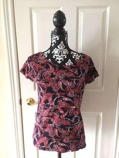 Jones-New-York-Signature-Woman-Paisley- 100% Cotton-Blouse Black & Red SZ M EUC