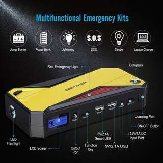 (486) DBPOWER Jump Starter 600A Peak 18000mAh Battery Booster Car Battery Booster Starting Device Multi-Function Charger Power Bank