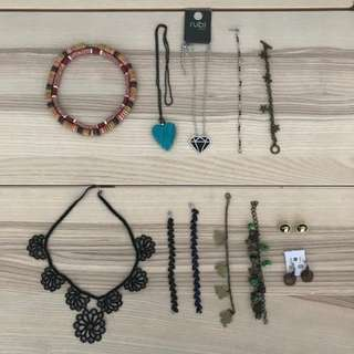 Necklaces, Bracelets, earrings and etc